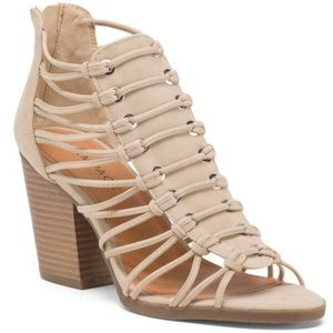 Rampage || nude strappy chunky block heel